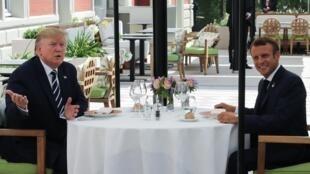 Almoço entre o presidente americano, Donald Trump, e o francês Emmanuel Macron em Biarritz, nesta sábado 24 de agosto de 2019.