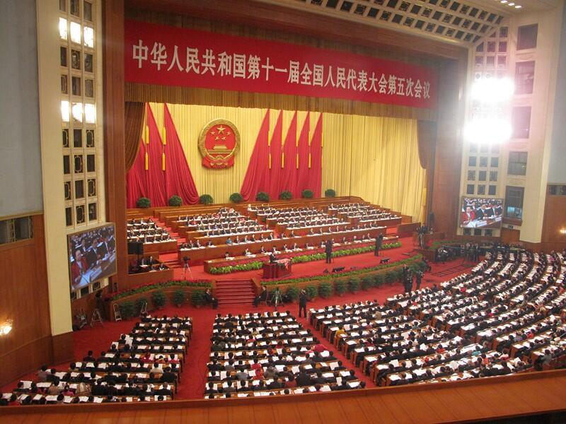 Pekín: el primer ministro, Wen Jiabao, se dirige a los participantes que asisten a la reunión plenaria anual de la Asamblea Nacional Popular (ANP, parlamento), el lunes 5 de marzo de 2012.