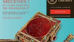 The Book of Hours prayer book - a manuscript bound in gold and encrusted with emerald, ruby and turquoise gemstones - belonged to France's King Francis . The Louvre has started a crowding funidng campaign to raise the money to buy it.