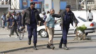 Arrestation d'un manifestant à Goma, dans l'est de la RDC, le 19 janvier 2015.