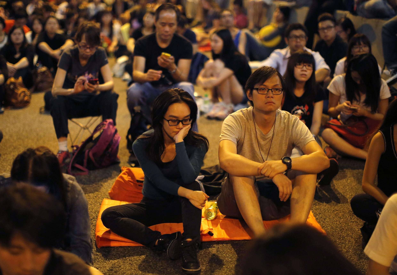 Tâm trạng thất vọng của sinh viên Hồng Kông khi được tin chính quyền chấm dứt đối thoại với phong trào dân chủ, ngày 9/10/2014.