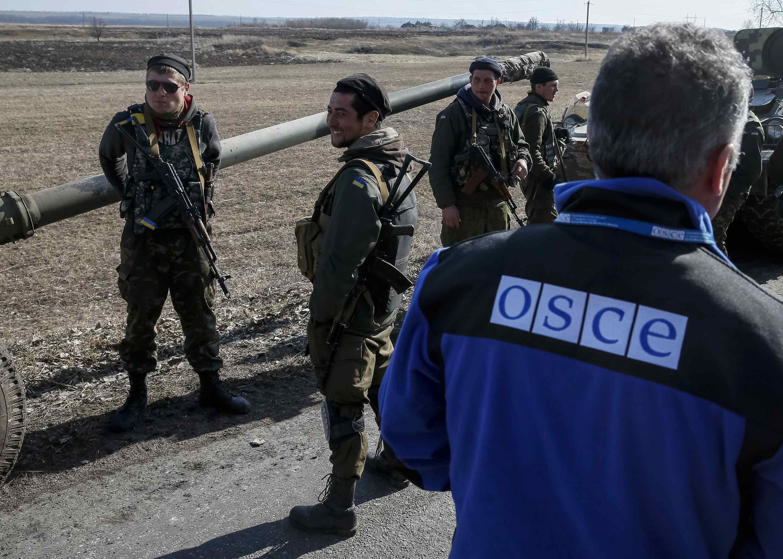 Наблюдатель ОБСЕ у населенного пункта Благодатное на востоке Украины, 27 февраля 2015 г.