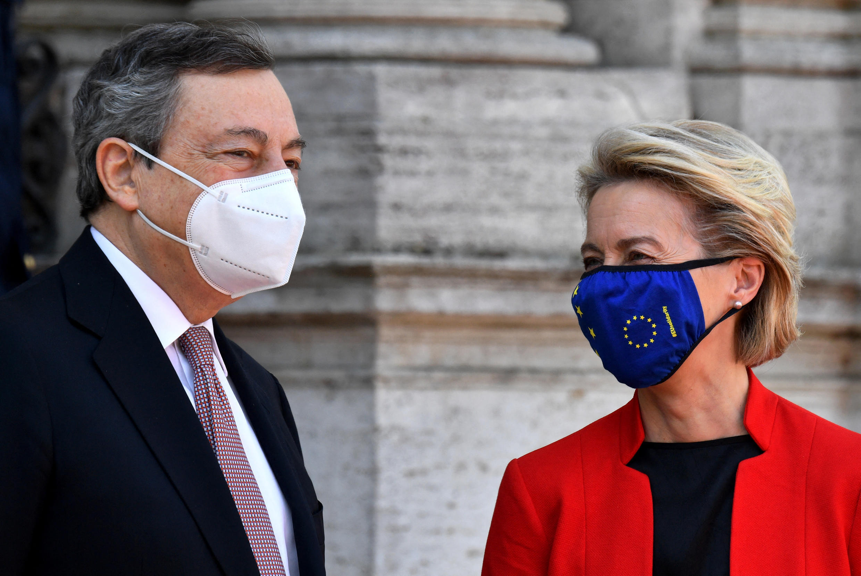 Primeiro-ministro italiano, Mario Draghi, e Presidente da Comissão Europeia, Ursula von der Leyen