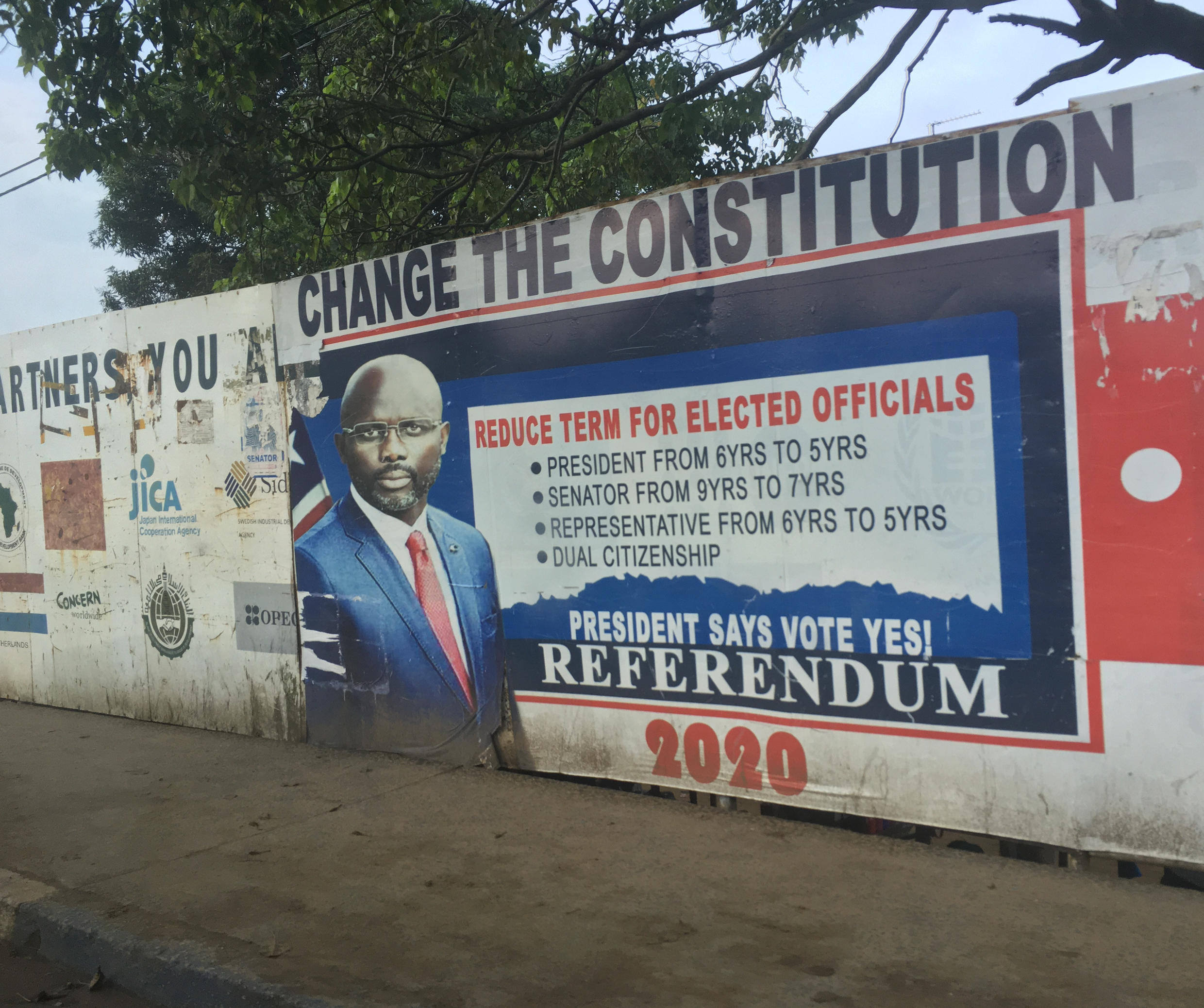 Weah campaigned for a Yes vote in the recent referendum supporting eight proposals to change the constitution. All of them were rejected.