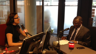 Sidya Touré (R) and RFI's Laura Angela Bagnetto in the studio