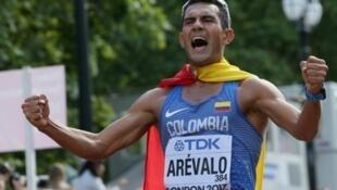 El atleta colombiano Eider Arévalo, proclamado campeón del mundo de 20 km marcha en Londres 2017.