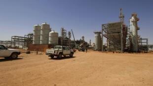Entrada do complexo de gás In Amenas na Argélia.