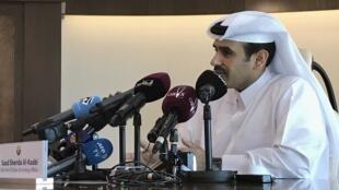 Les ministre d'Etat des Affaires énergétiques du Qatar, Saad Sherida Al-Kaabi, en conférence de presse à Doha, le 3 décembre 2018.