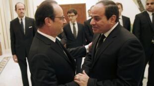 ប្រធានាធិបតីបារាំង François Hollande និងប្រធានាធិបតីអេហ្ស៊ីប លោក Abdel Fattah al-Sissi