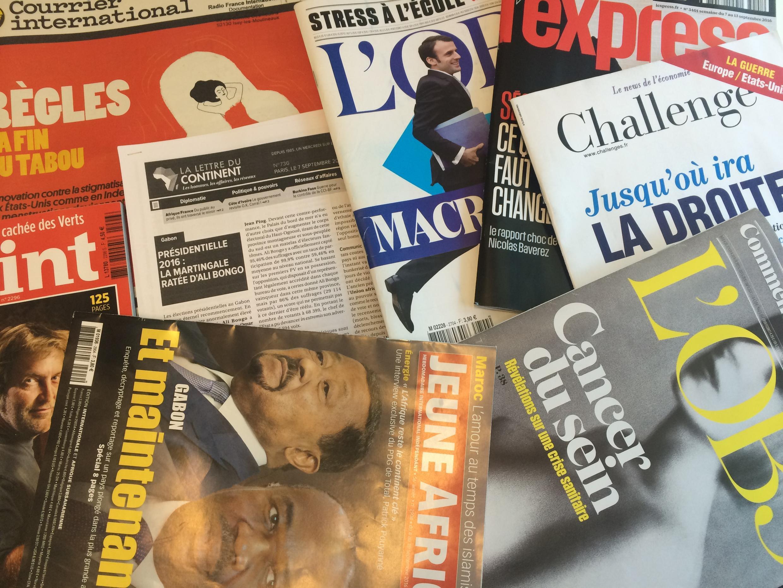 Capas de magazines news franceses de 10 de setembro de 2016