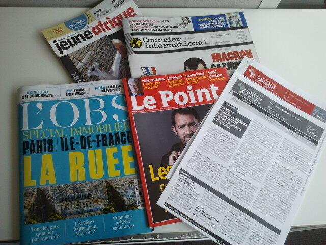 Semanários de língua francesa de 23/03/19, publicados em França
