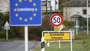 A sign marking the border entry into Luxembourg, which is in Europe's Schengen area.