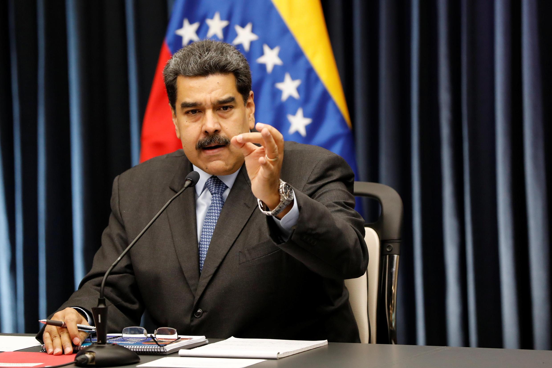 O presidente da Venezuela, Nicolás Maduro, em entrevista coletiva internacional, em 18 de setembro de 2018, em Caracas.