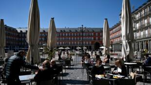 La Plaza Mayor en Madrid, la capital española, el 25 de marzo de 2021