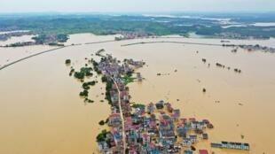 江西遭受洪灾灾区资料图片