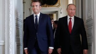 Эмманюэль Макрон и Владимир Путин в Версальском дворце, 29 мая 2017 г.