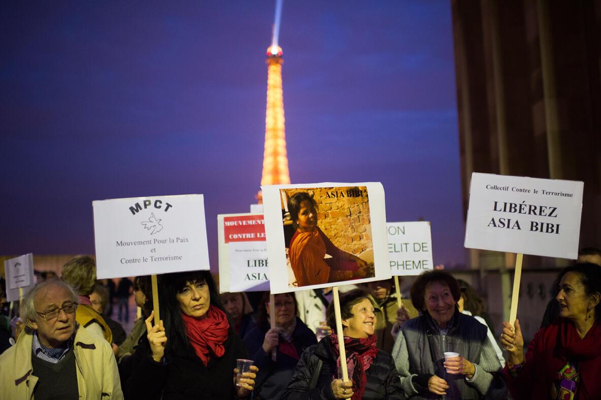 Manifestation de soutient à Paris pour la libération d'Asia Bibi, condamnée à mort au Pakistan pour blasphème, le 29 octobre 2014.