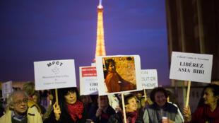Manifestation de soutien à Paris pour la libération d'Asia Bibi, condamnée à mort au Pakistan pour blasphème.