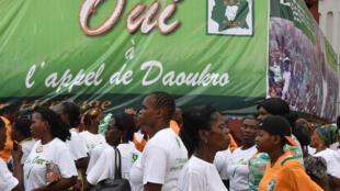 Des supporters de l'appel de Daoukro à Abidjan, le 28 février.