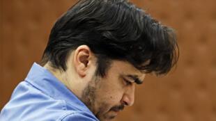 Ruhollah Zam durante su juicio ante un tribunal iraní, el 30 de junio de 2020 en Teherán
