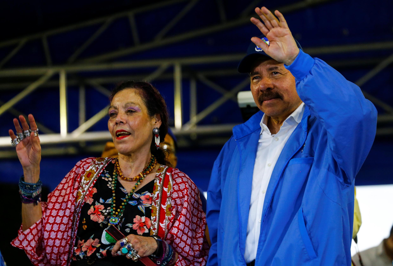 Daniel Ortega et Rosario Murillo à Managua, le 7 juillet 2018.