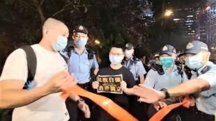 馬俊文10月28日晚上到中區警署外聲援被捕的鐘翰林,隨後更同被控煽動分裂國家罪 2020年11月25日