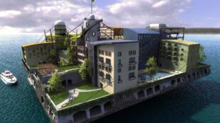 Projet de ville flottante du Seasteading Institute dans laquelle on pourrait vivre selon les principes libertariens.