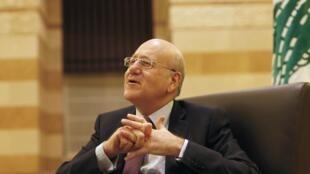 Najib Mikati, le 12 mars dernier au Grand Sérail, le siège du gouvernement à Beyrouth.