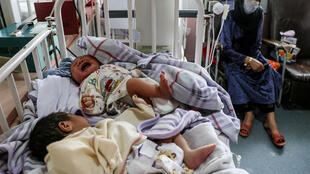 Two newborn babies who lost their mothers in an attack on a maternity ward in the Afghanistan capital Kabul