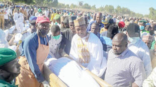 The governor of Borno state Nigeria Professor Babbagana Umara Zulum  Leads Residents To Bury Farmers Killed By Boko Haram