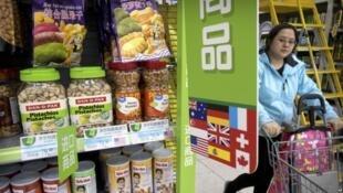 中国超市里的进口商品。