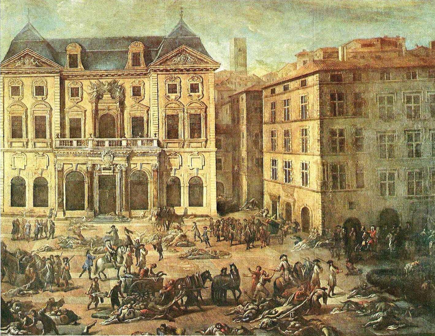 شیوع بیماری طاعون در اروپا، در سال ۱۷۲۰ نیمی از جمعیت شهر مارسی در فرانسه را از بین برد