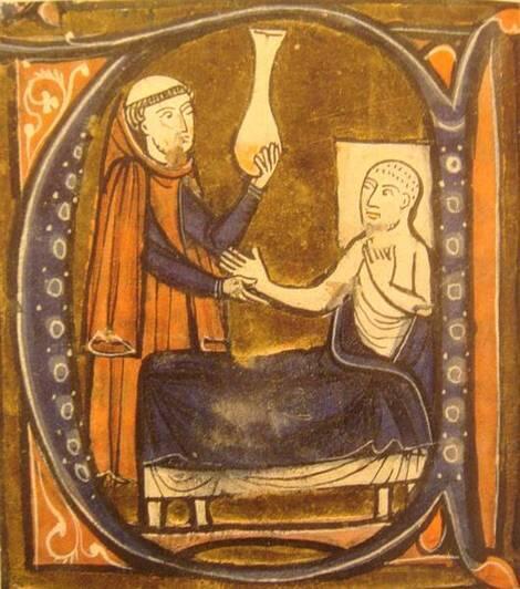 تصویری از رازی در یک کتاب پزشکی ایتالیایی قرون وسطی- (Gérard de Crémone)