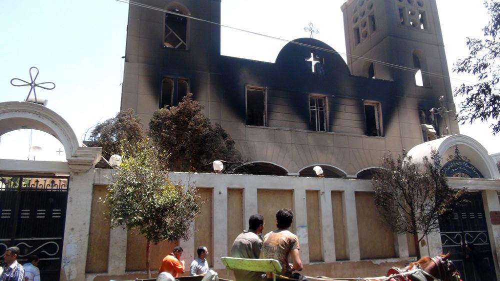 Коптская церковь в г. Минья, сожженная исламистами 14/08/2013
