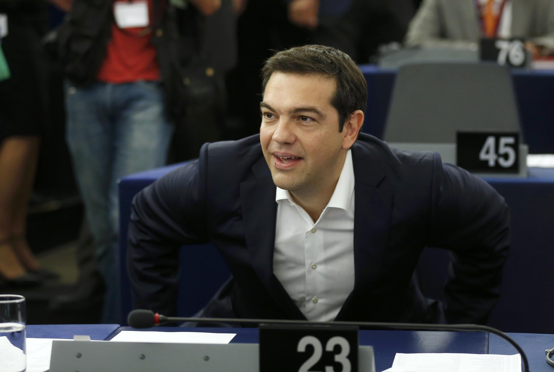O primeiro ministro grego, Alexis Tsipras, discursa em Estrasburgo