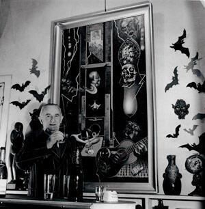 Clovis Trouille, vernissage de l'exposition organisée par Ornella Volta à la Lanterne Magique, le 9 novembre 1962.