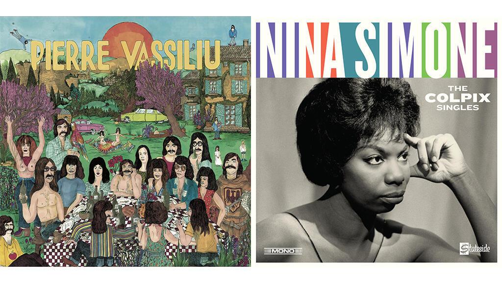 "Pochette Pierre Vassiliu ""Face B"" (© Born Bad) - Pochette Nina Simone ""The Colpix Singles"" (© Parlophone)."