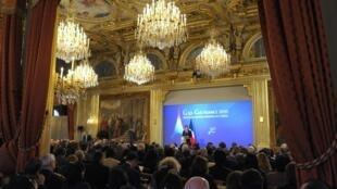 Toàn cảnh buổi họp báo của Tổng thống Pháp Nicolas Sarkozy ngày 24/01/2011 tại điện Elysée - Paris.