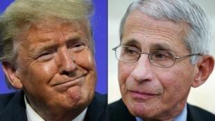 Ảnh ghép của AFP: tổng thống Mỹ Donald Trump (T) và bác sĩ  Anthony Fauci, giám đốc Viện Dị Ứng và Bệnh Truyền Nhiễm Quốc Gia, Wahington, Hoa Kỳ.