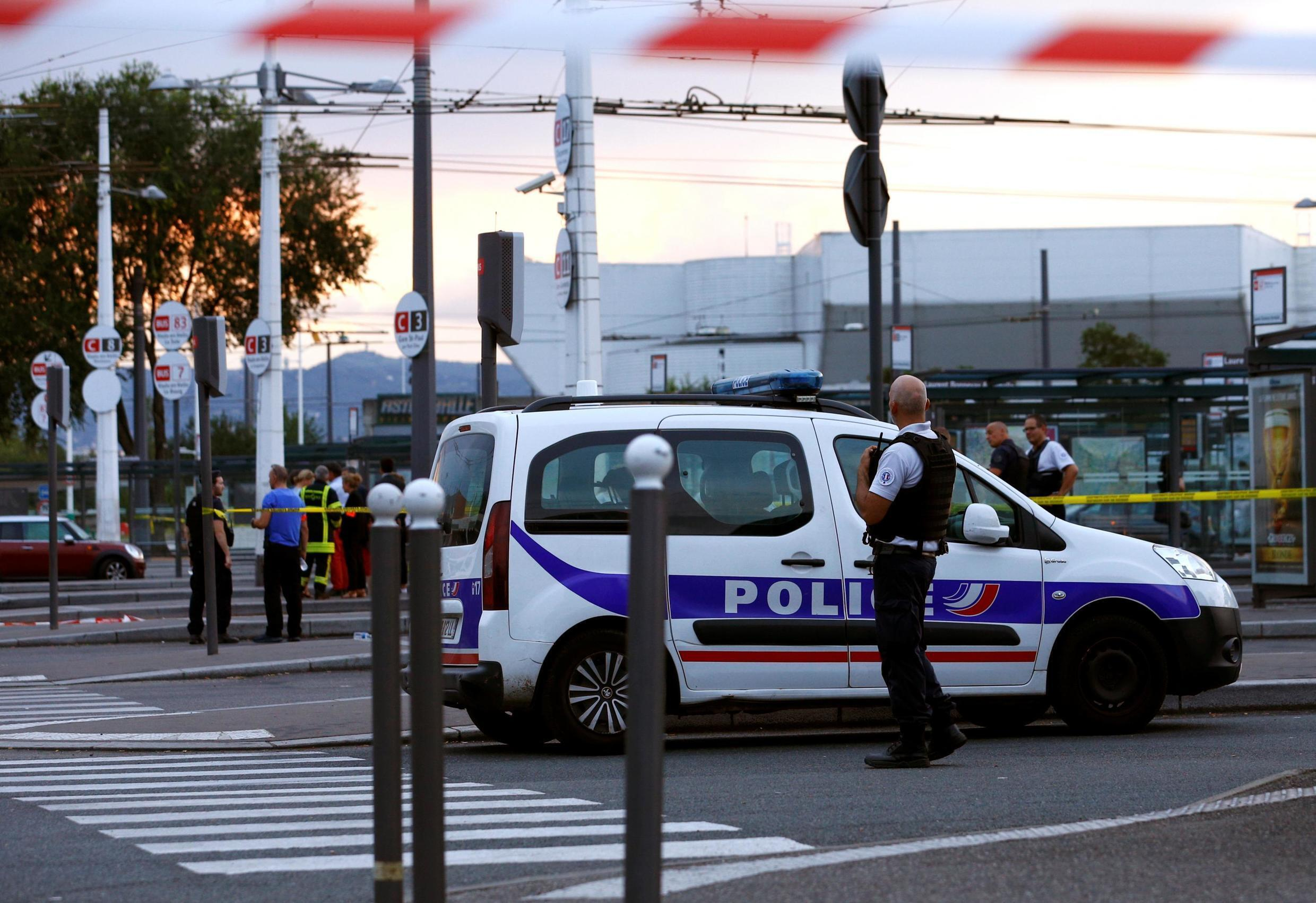 French police secure the area after one person was found dead and six others wounded in a suspected knife attack in Villeurbanne, near Lyon French police secure the area after one person was found dead and six others wounded in knife attack in Lyon.