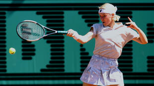 Jana Novotna of the Czech Republic returns a forehand to compatriot Adriana Gersi during their match on the second day of the Roland Garros French tennis open May 26. Novotna defeated Gersi 6-3 6-2.