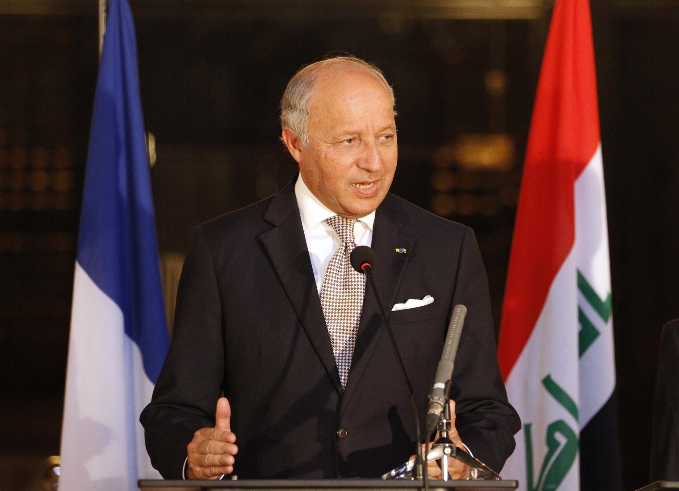 Laurent Fabius, le ministre français des Affaires étrangères, le 10 août, à Bagdad.