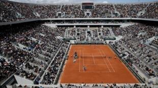 Vue du court Philippe Chartier lors du tournoi de Roland-Garros le 8 juin 2019