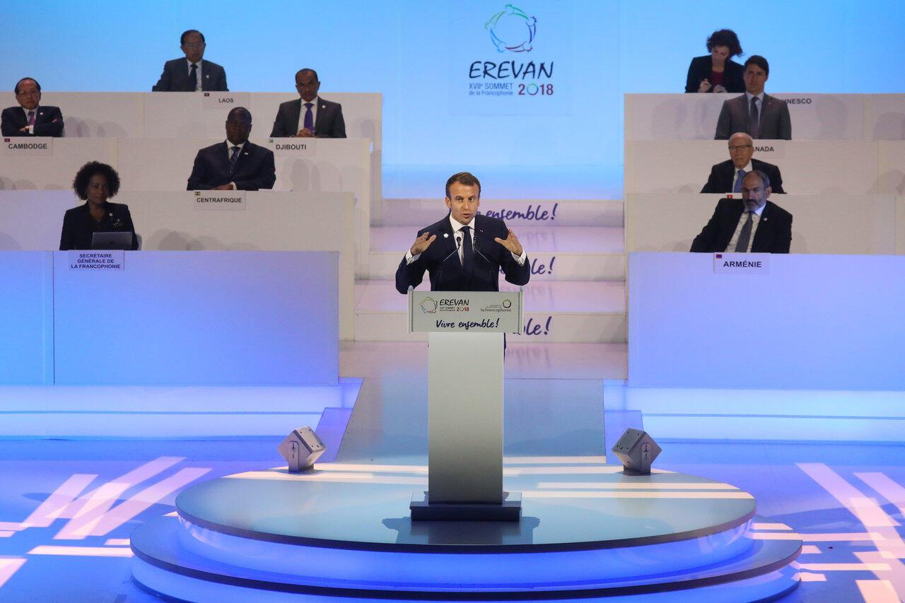 Discours d'Emmanuel Macron à Erevan, ce jeudi 11 octobre pour l'ouverture du 17e sommet de la Francophonie.