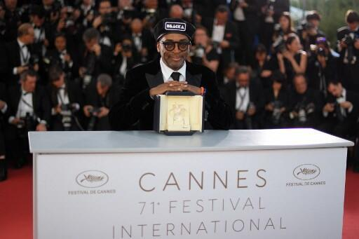 """Spike Lee at the 2018 Cannes festival, where he won the Grand Prix for """"BlacKKKlansman""""."""