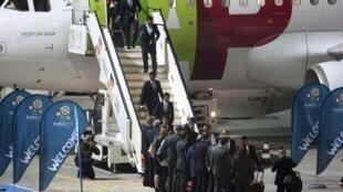 L'équipe du Portugal lors de son arrivée en Pologne à Poznan.