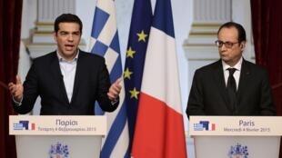 O premiê grego Alexis Tsipras encontrou o presidente francês François Hollande nesta quarta-feira, 4 de fevereiro de 2015.