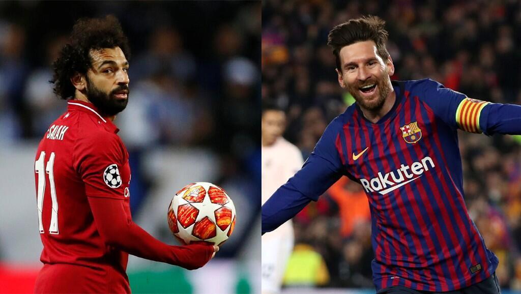 Mohamed Salah tare da hoton Lionel Messi na Barcelona