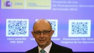 Ministro espanhol do Orçamento, Cristobal Montoro, apresentou projeto de Orçamento ao Parlamento neste sábado.