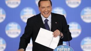 Silvio Berlusconi, en meeting politique à Rome, le 7 février 2013.